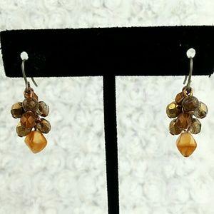 Vintage Brown Toned Bead Cluster Dangle Earrings